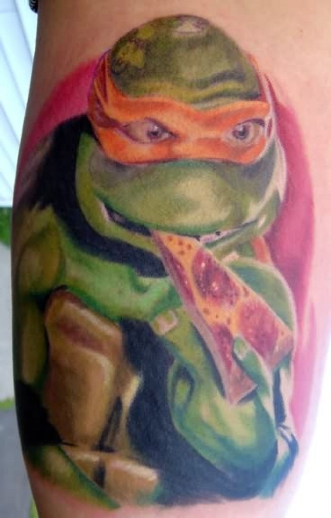 Famous Cartoon Men Eat Pizza Tattoo