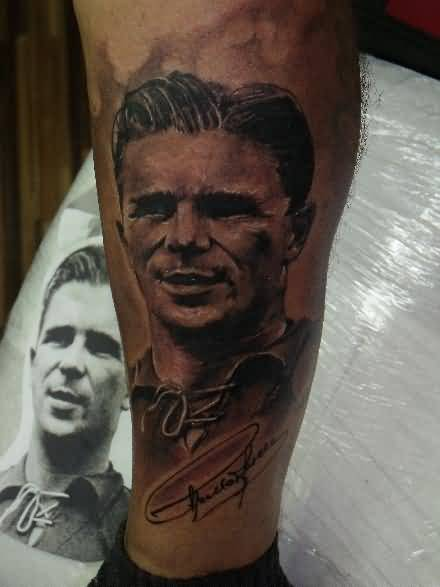 Famous Ferenc Puskas Real Madrid Team Player Tattoo Of 3d Face