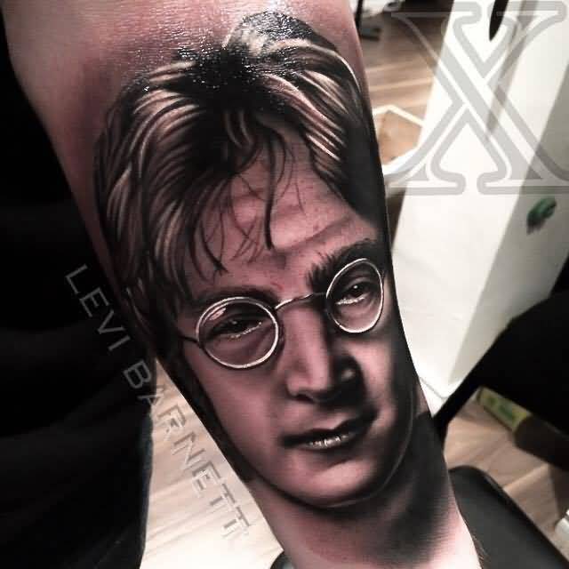 Famous Harry Potter 3D Face On Arm Tattoo Design By Levi Barnett
