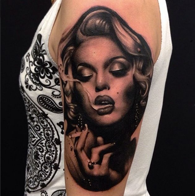 Famous Hollywood Star Marilyn Monroe Portrait Face Tattoo