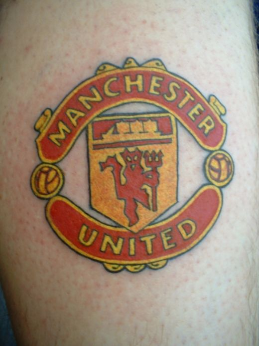 Famous Logo Of Popular Manchester United Football Team Tattoo