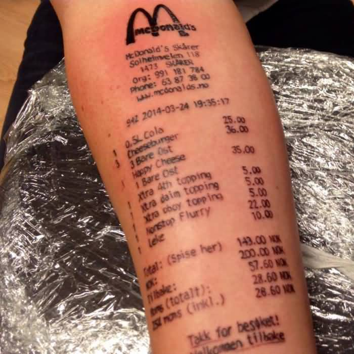 Famous MC Donald Receips With Price Numbers Tattoo