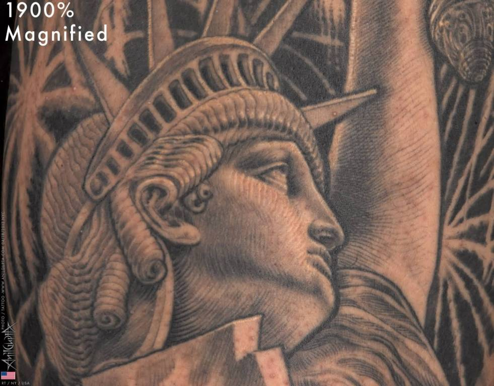 Famous Newyork City Historical Statue Of Liberty Tattoo