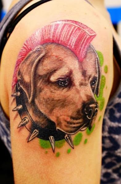 Famous Nice Punk Cool Hairstyle Dog Face Tattoo On girl Shoulder
