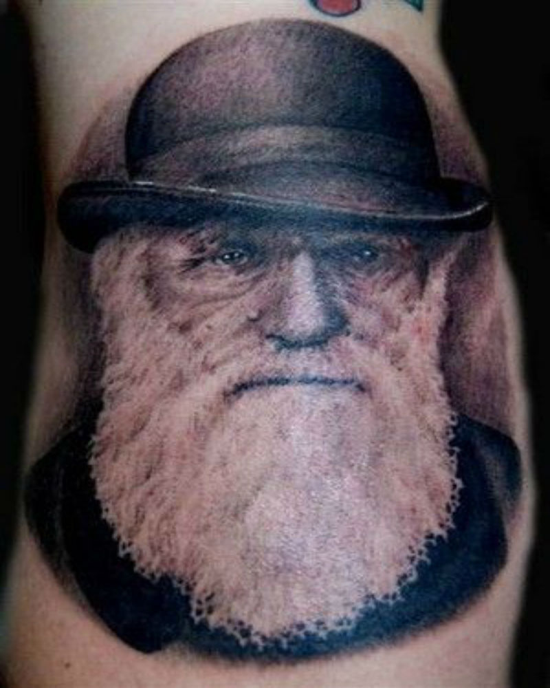 Famous Old Charles Darwin Scientist Face Tattoo