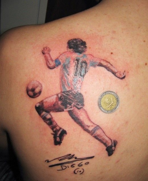Famous Player Play Football Tattoo