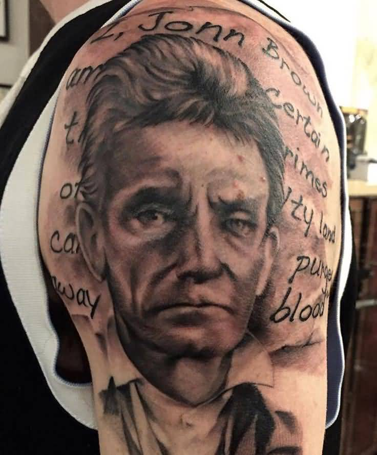 Famous Sad The Old Man John Brown Historical Face Tattoo