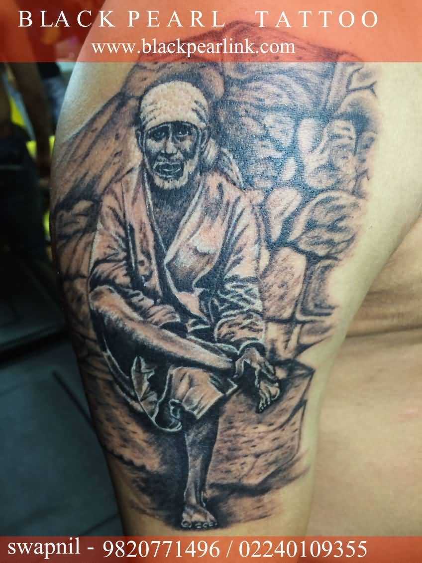 Famous Sai Baba God Sitting Pose Tattoo