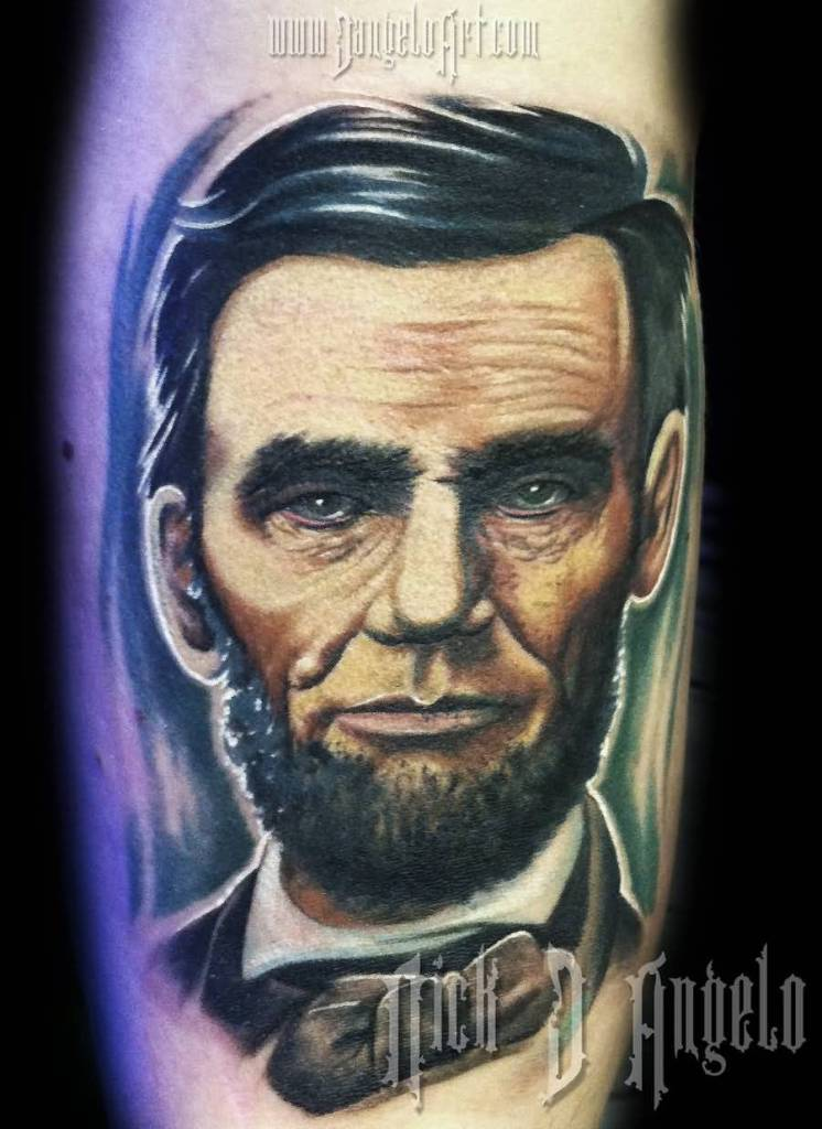 Famous The Albert Lincoln Portrait Face Historical Tattoo