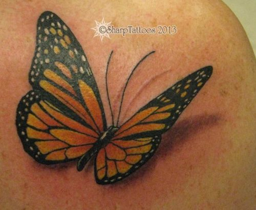 Fantastic 3D Monarch Butterfly Tattoo On Shoulder
