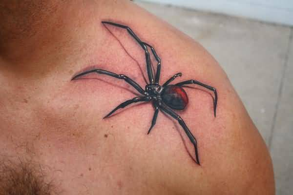 Fantastic 3D Realistic Black Widow Spider Tattoo On Upper Shoulder
