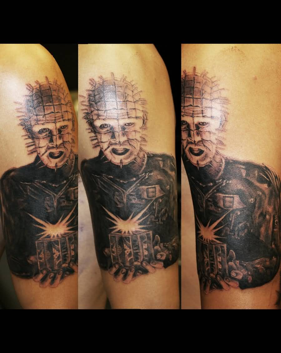 Fantastic And Amazing Pinhead Cube And Face Tattoo