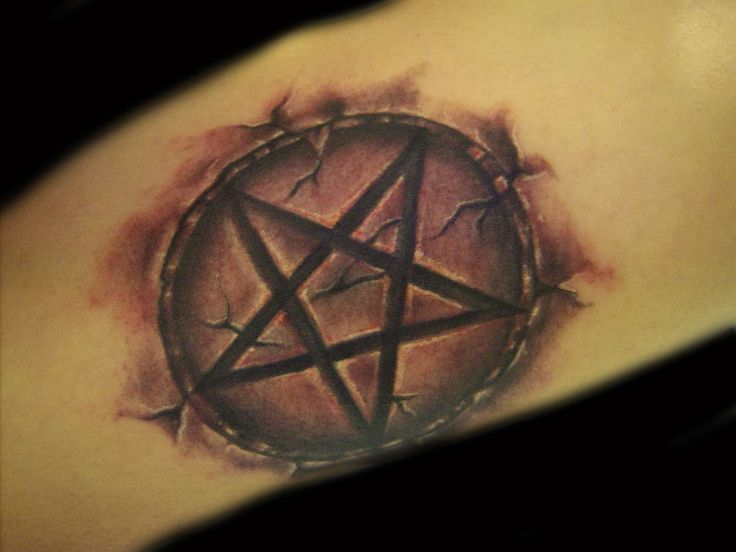 Fantastic And Amazing Satan Tattoo Of Circle Symbol