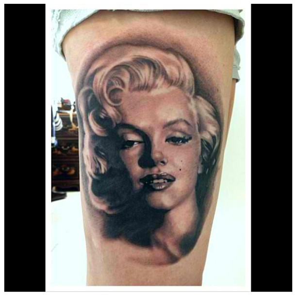 Fantastic And Awesome Marilyn Monroe Girl Face Tattoo
