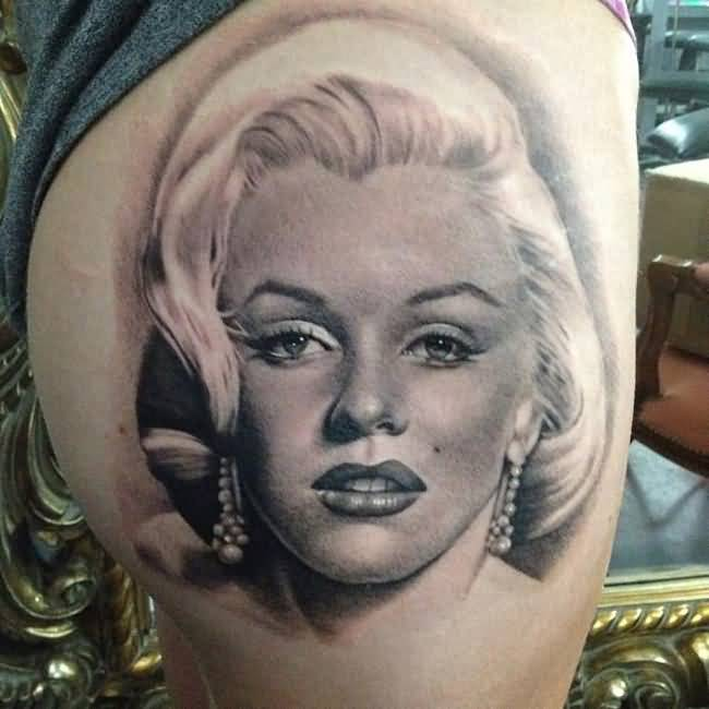 Fantastic And Fabulous Marilyn Monroe Portrait Face Tattoo Design Idea
