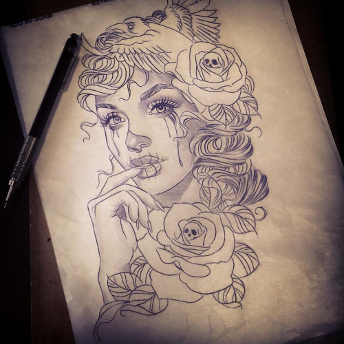 Fantastic And Nice Amazing Catrina Face Witgh Skull Roses Tattoo