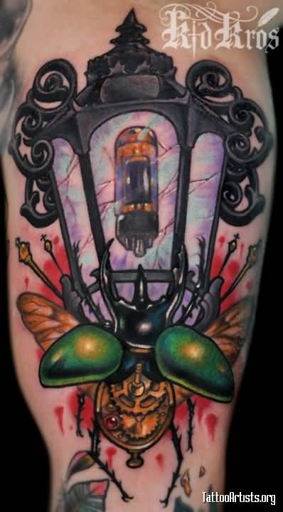 Fantastic And Nice Antique Lantern Tattoo