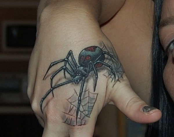 Fantastic And Nice Black Widow Spider Tattoo On Hand Design For Girl