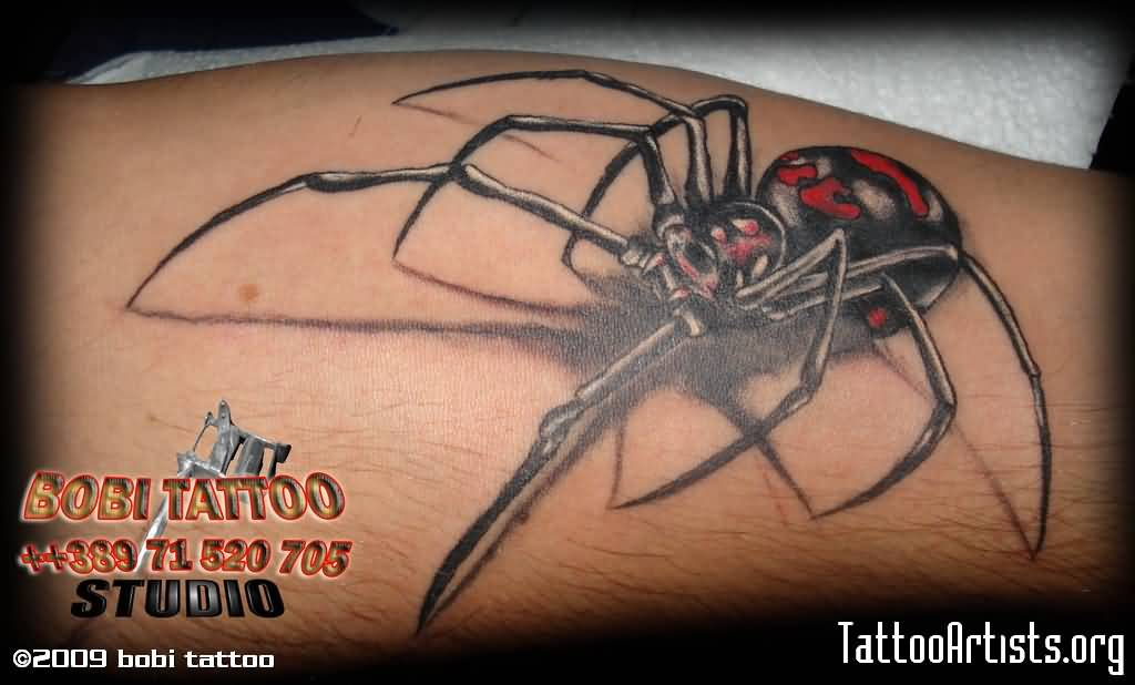 Fantastic And Nice Black Widow Tattoo Design