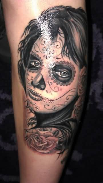 Fantastic And Nice Catrina Girl Face Tattoo Design Idea
