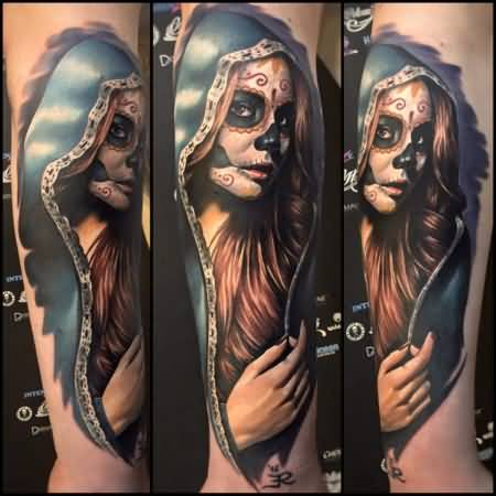 Fantastic And Nice Catrina Girl Face Tattoo On Lower Arm Sleeve