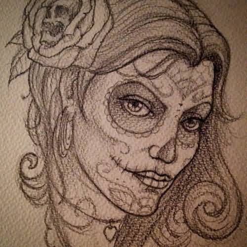 Fantastic And Nice Catrina Girl Tattoo Design Idea