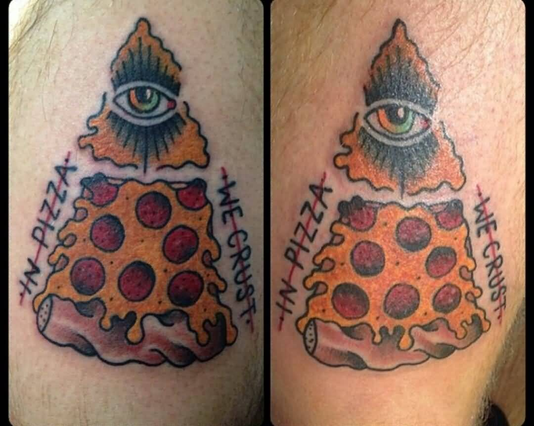 Fantastic And Nice Eye Pizza Tattoo