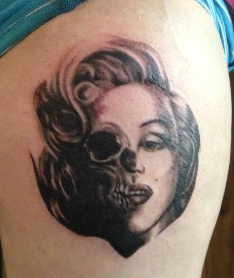 Fantastic And Nice Marilyn Monroe Tattoo Design Idea Make On Thigh