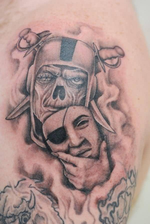 Fantastic And Nice Oakland Raiders Mask Skull Tattoo On Men Shoulder