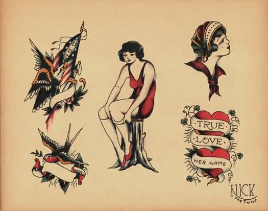Fantastic And Nice Old School Tattoo Design Stencil