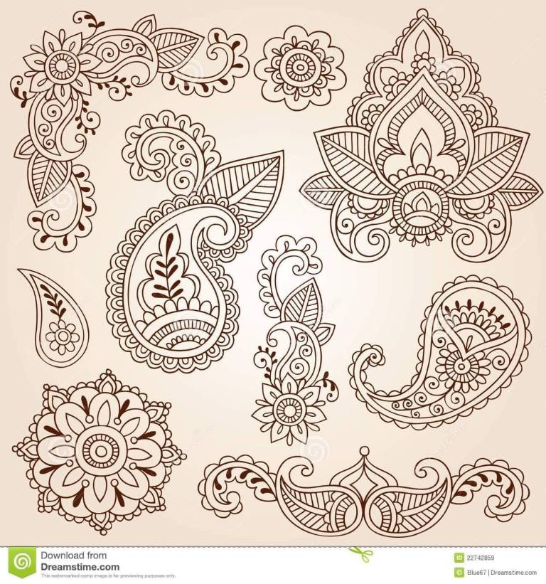 Fantastic And Nice Paisley Pattern Tattoo Design Sketch