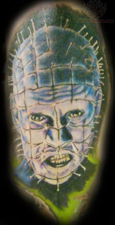 Fantastic And Nice Pinhead Face Tattoo Design Idea