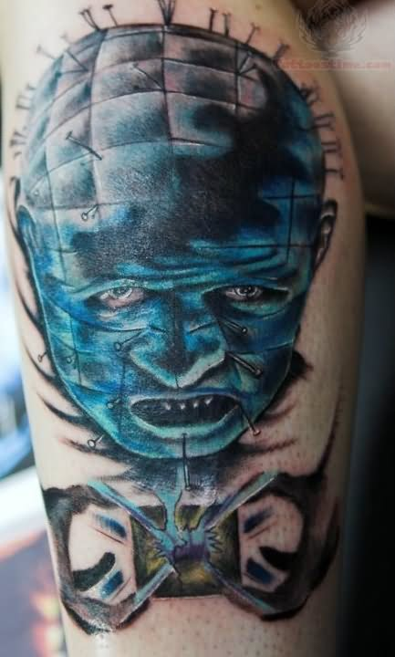 Fantastic And Nice Pinhead Sky Blue Nice Ink Tattoo