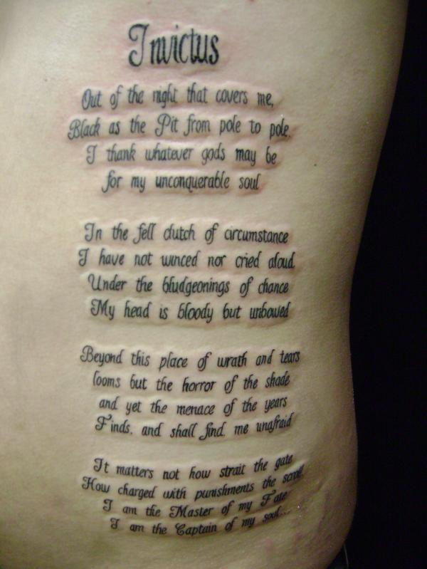 Fantastic And Nice Poem Letters Tattoo Design Idea