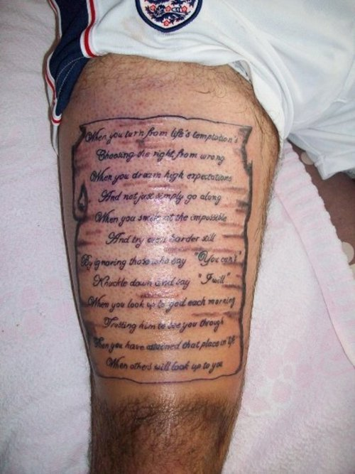 Fantastic And Nice Poem Letters Tattoo