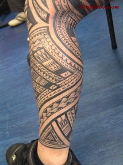 Fantastic And Nice Samoan Tattoo On Men Leg