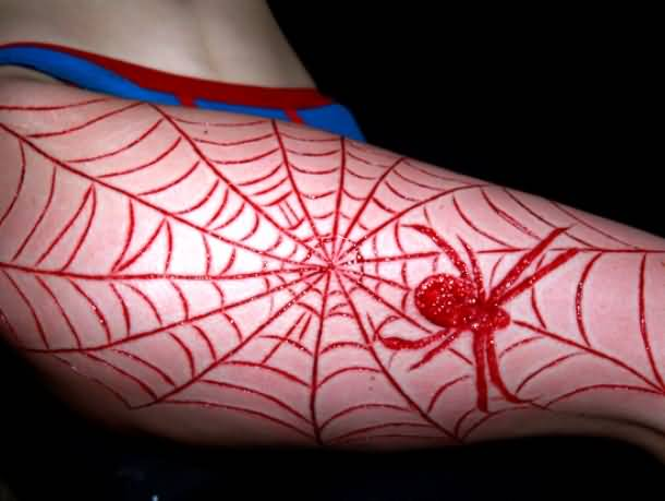 Fantastic And Nice Scarification Tattoo Of Spider With Web