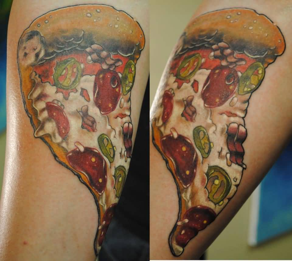 Fantastic And Nice Slice Pizza Tattoo