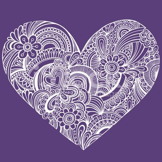 Fantastic And Nice Stencil Of Heart Paisley Pattern Tattoo