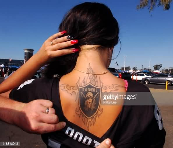 Fantastic And Nice Upper Back Oakland Raiders Logo Tattoo