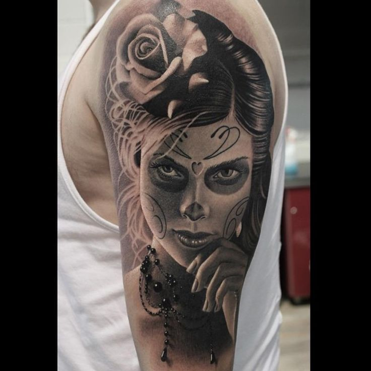 Fantastic And Realistic Catrina Face Tattoo Of Girl