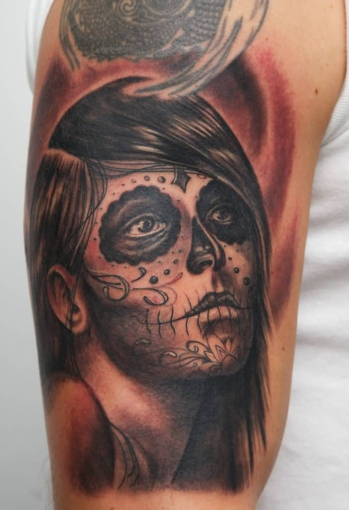 Fantastic And Simple Catrina Girl Face Tattoo