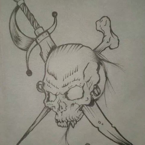 Fantastic And Simple Jolly Roger Tattoo Idea