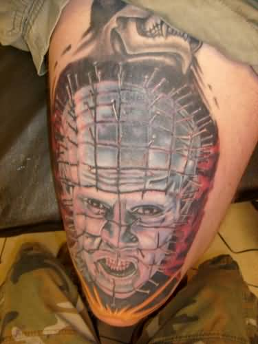 Fantastic And Simple Pinhead Tattoo Design Idea On Leg