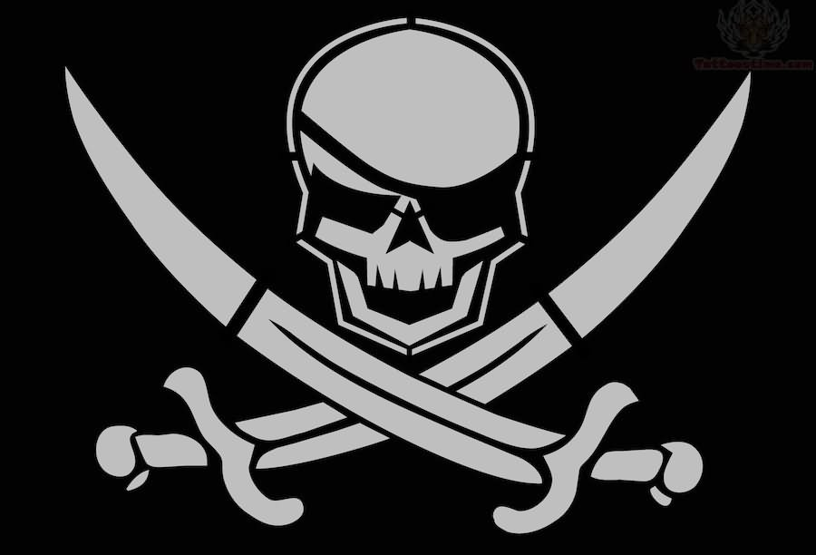 Fantastic And Simple Stencil Of Amazing Jolly Roger Tattoo