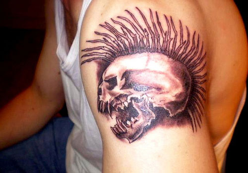 Fantastic Angry Punk Skull Tattoo On Shoulder
