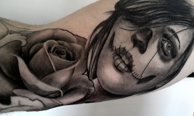Fantastic Arm Sleeve Nice And Amazing Catrina Tattoo With Lovely Rose