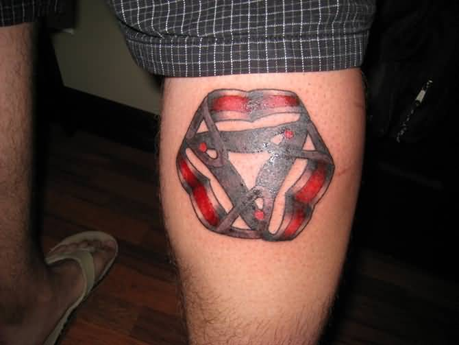 Fantastic Back Leg Simple Escher Mobius Tattoo