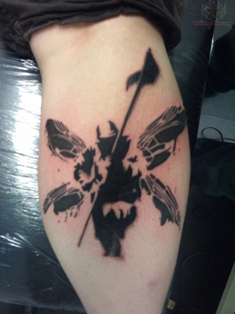 Fantastic Black Ink Amazing Linkin Park Tattoo On Leg
