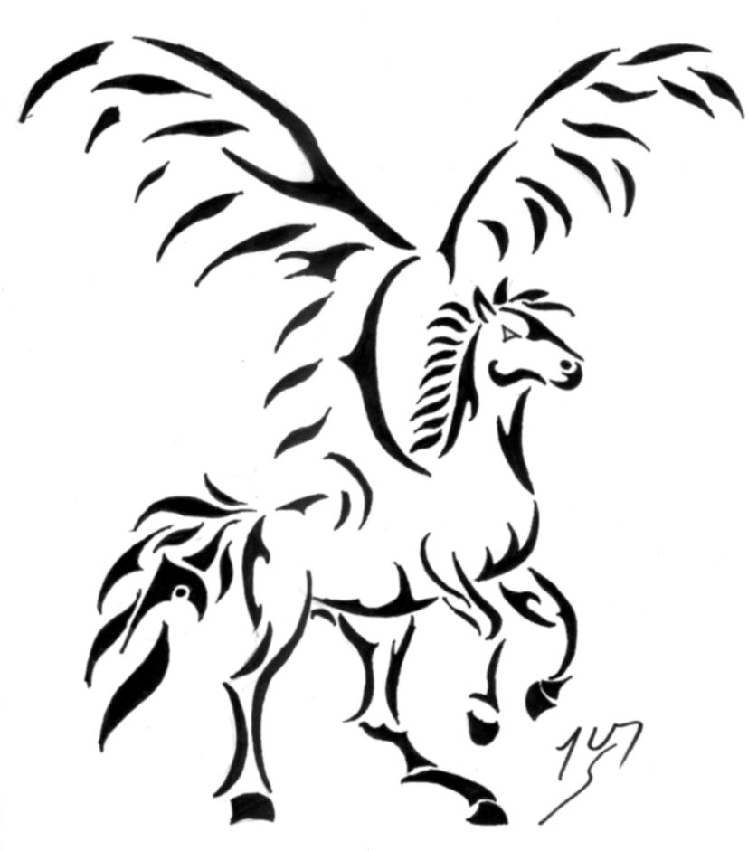 Fantastic Black Ink Nice And Amazing Pegasus Tattoo Design Idea